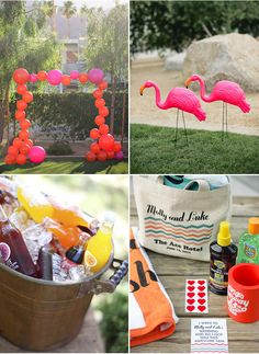 Pool Party Ideas - Pink Flamingos - Citrus Drinks - Personalized Beach Bags with Towels and Sunblock Pool Party Kids, Luau Party, Pool Parties, Hawian Party Ideas, Beach Bridal Showers, Party Rock, Flamingo Party, Party Planning, Party Time