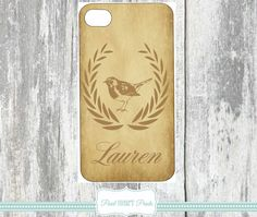MONOGRAMMED PHONE Covers Personalized Phone Case Cases Bird Birds Brown Custom Printed Samsung Galaxy IPhone Monogrammed Monogram Cover Case
