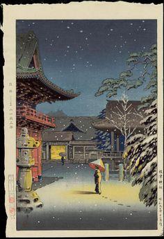 Koitsu, Japanese Woodblock Print, Snow at Nezu Shrine, 1934 Japanese Art Prints, Japanese Artwork, Japanese Painting, Japon Illustration, Japanese Illustration, Hokusai, Japanese Woodcut, Art Chinois, Art Asiatique
