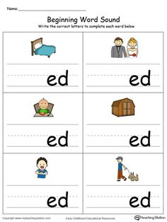 Learn sounds and letters at the beginning of words with this ED Word Family printable worksheet in color. English Worksheets For Kindergarten, Phonics Worksheets, Phonics Activities, Reading Worksheets, Lkg Worksheets, Phonics Chart, Handwriting Worksheets, Preschool Literacy, English Activities