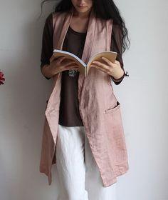 Side Pockets Long Linen Vest-zenb.com SKU bb0424