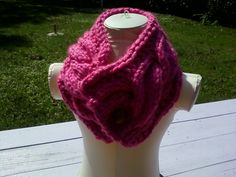 Pink Neck Warmer Cowl Knit Cable Winter by InspiredbyNancy on Etsy