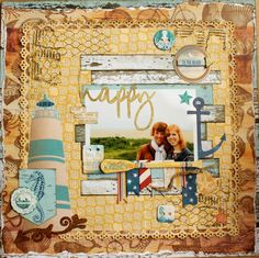 Happy Layout by Romy Veul for Bobunny featuring the Boardwalk Collection. #BoBunny @romy19
