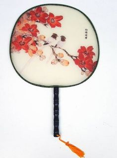 Round Chinese Traditional Pure Silk Hand Fans, add some fluffy feathers  have bmaid bouquets!