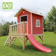 Exit Beach 300 punainen leikkimökki liukumäellä tarjoaa lapsille paljon tekemistä  #exit #leikkimökki #leikkimökit #pihaideat #takapiha #kesä2016 #pihaleikit