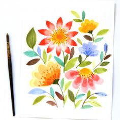 Anyone can paint these beautiful watercolor flowers in 10 minutes! Easy tutorial with just a few simple steps!