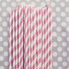 Pailles en papier rétro rose