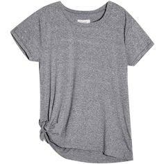 Side Tie T-Shirt (£110) ❤ liked on Polyvore featuring tops, t-shirts, side tie top, grey t shirt, gray top, gray t shirt and grey tee