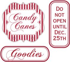 Silhouette Design Store - View Design #13434: christmas tags candy canes and goodies