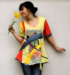 Reserved for Bonnie shiny sunny denim recycled top by jamfashion, $87.00