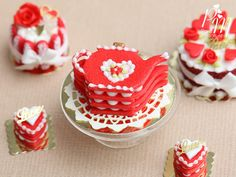 Teapot Shaped Red Valentine's Millefeuille with Cream Filling - Miniature Food in 12th Scale for Dollhouse