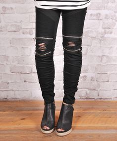Look at this Olivia & Jane Black Distressed Moto Leggings on #zulily today!