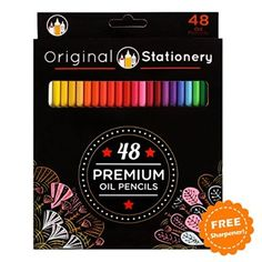 48 Colouring Pencil Set, Deluxe Anti-Break for Adult colouring: Long-Life Vibrant Colours, Beginner Friendly 100% Unique Tones, No Repeats. Perfect for Artists & Kids too. Smudge + Stress Free Design.