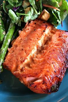 An easy Broiled Teriyaki Salmon recipe for a last-minute meal, with an extra bit of brown sugar and ginger that glazes the fish to perfection.