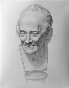 Head cast, Russian Academy, 40x50cm graphite http://marniesart.blogspot.com