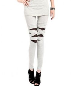 Crossed Bandages Mesh Splicing Leggings