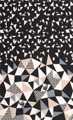 mountain black triangle echino Decoro cotton sateen fabric