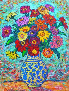 """Honourable mention • """"Artist of the Week XXII Autumnal"""" contest • 'Flowers - Colorful Zinnias Bouquet' by Ana Maria Edulescu on fineartamerica.com"""