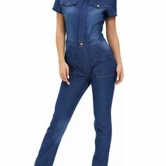 Denim Buttoned Pocket Design Jumpsuit  $69.00    Material: Jeans  Fit Type: Skinny  Pattern Type: Solid  Style: Streetwear  Season: Fall,Spring,Summer  With Belt: No  Weight: 0.600kg  Package Contents: 1 x Jumpsuit