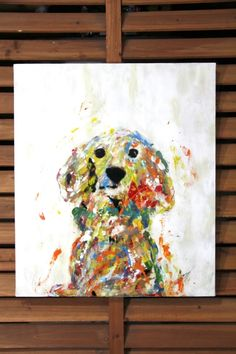 "Original spray paint art.  Spray paint art ""Donfan""(dog)  canvas painted by artist TOMOYA"