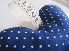 Polka Dot Hanging Heart Navy Blue and White by LilyLovesShopping