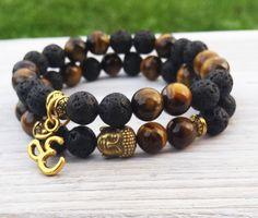 Mens Yoga Bracelet Stacks Mens Buddhist Prayer Wrist Mala Tigereye Black Lava Zen Bracelet Om Charm Bracelet Buddha Bracelet (27.00 USD) by BohemianChicbead