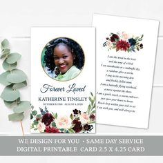 A floral celebration of life memorial keepsake card template with your loved one's photo and customized wording on both sides. Receive your digital printable mass cards within 24 hours of your order to print locally.
