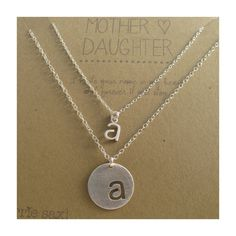 Mother Daughter Necklace Set - Initials - sterling silver - keepsake quote card - mommy - baby - personalized gift - monogram - forever on Etsy, $88.00