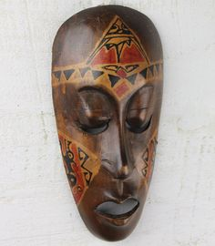 Beach Decor Vintage Wooden African Mask by SEASTYLE by SEASTYLE