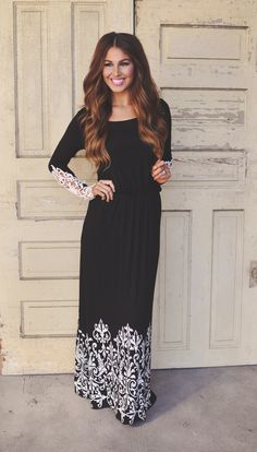 Black casual maxi with sleeves ♥