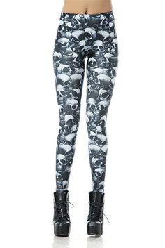 DawnRaid Womens Graphic Printed Leggings Stretch Funky Tights Ankle Length at Amazon Women's Clothing store: