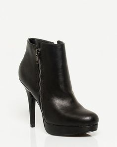 Leather-like Platform Ankle Boot