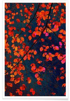 Furious Red Leave als Premium Poster von Iris Lehnhardt | JUNIQE
