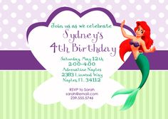 Rectangular invitation with clam to put info and mermaid (could be popped)