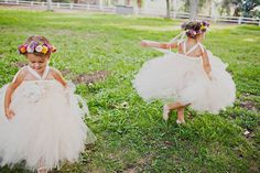 Flower girls in floral crowns and tulle dresses - Wildflowers & Jenny Packham #flowergirls #floralcrowns #tulledresses