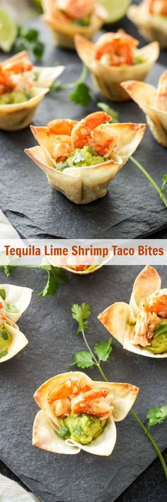 Tequila Lime Shrimp Taco Bites ~ Mini wonton cups filled with guacamole and topped with shrimp are the perfect, easy to make two-bite appetizer!