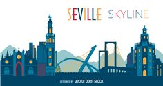 Illustration featuring Seville skyline with silhouettes of classic buildings and…