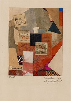 Kurt Schwitters, Mz 163 with Woman, Spraying (Mz 163 mit Frau, spritzend), 1920, Tempera, graphtie, paper and fabric collage mounted on paper, 15.5 x 12.3 cm