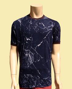 Mans T Shirt  blue Viscose Fabric With  tye dye print Size M Short Sleeve Tees  Berning men by BANKUSSI on Etsy