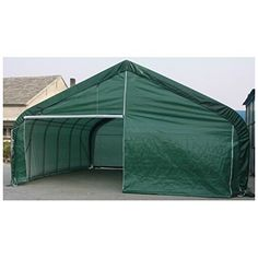 Rhino Shelter Two Car Garage 22x24x12 House Style - Green - BMC-MDM 84104  Heavy Duty Galvanized Finish on All Steel Frame Components for Maximum Strength & Long Life; Easy Bolt together Design - all Pre-drilled & Cut; Wind Brace Support on Both Sides Two(2) Triple Zipper Doors with Bottom Pockets; One (1) complete Roll-up Door Kit; Protective Plastic Tube End Caps - All Open Ends Standard...