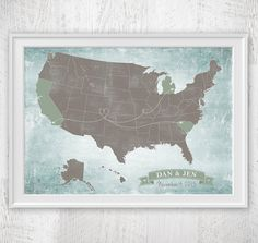 Custom Outlined States US Map art print / United States Map / 8x10 / Custom PinPoint Personalized Travel State Map