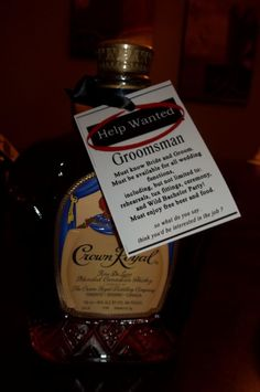 help wanted -- ask groomsmen with favorite alcohol