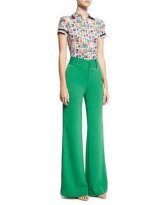 -74KB Alice + Olivia  Paulette High-Waist Wide-Leg Pants, Green Oswald Short-Sleeve Button-Down Top, Multi