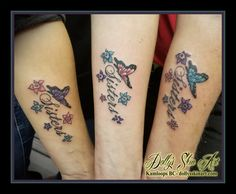 d76e19eaf matching sisters colour butterfly flowers script lettering font red purple  blue pink forearm tattoo kamloops tattoo