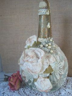 Shabby Chic Bottle Altered Bottle
