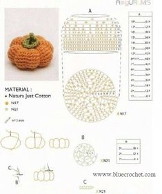 Love crochet Love craft added a new photo. Crochet Fruit, Crochet Pumpkin, Crochet Food, Love Crochet, Crochet Dolls, Crochet Flowers, Knit Crochet, Amigurumi Patterns, Crochet Patterns