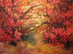 Red landscape. Artist: Simona Zalinca Acrilic tehnique on canvas Contact: www.belladonart.wordpress.com