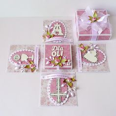 First Communion Cards, Exploding Box Card, Creative Box, Baptism Gifts, Explosion Box, Homemade Cards, Quilling, Cardmaking, Paper Crafts