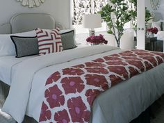 I like grey and white bedrooms, Emil likes red... This could work.