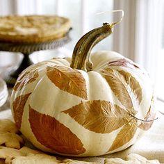 decoupaged fall leaf pumpkin
